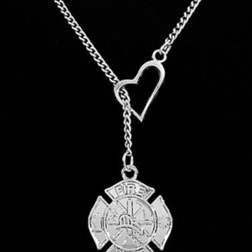 firefighter fkoep firefighters silver com tattoo necklace zazzle girlfriend plated