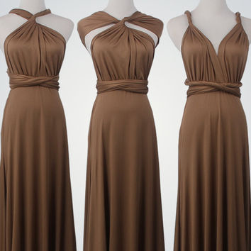 Brown Dress,Knee-Length infinity dress,Brown Short Dress,Short Wrap Dress,Bridesmaid Dress