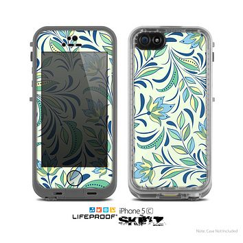 The Sutble Green Floral Vector Pattern Skin for the Apple iPhone 5c LifeProof Case