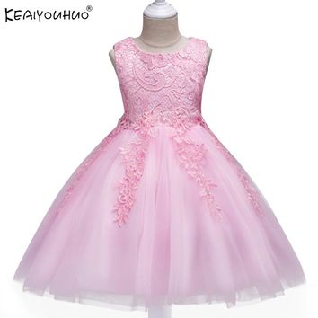 2017 Girls Dress Costume For Kids Wedding Dresses For Girls Cotton Children Clothing Princess Dress Clothes 1 2 3 4 5 6 7 Years
