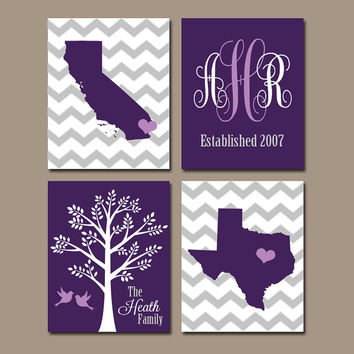 TWO STATES Wall Art, Family Canvas or Prints Family Couple Gift, Purple Wedding Gift Tree Birds STATE Monogram Est Date Set of 4 Decor