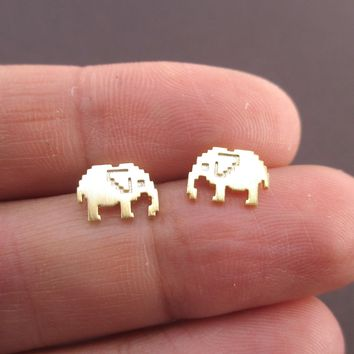 Pixel Elephants Shaped Allergy Free Stud Earrings in Gold