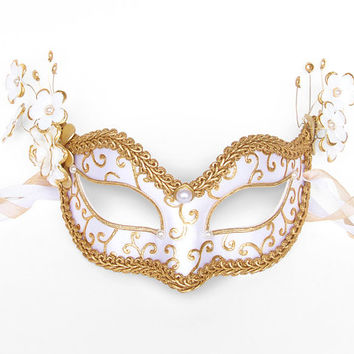 Image result for gold and white masquerade mask