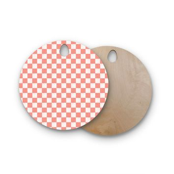 """Elena Ivan - Papadopoulou """"Chess On Fall"""" Pink Beige Geometric Pattern Painting Digital Round Wooden Cutting Board"""