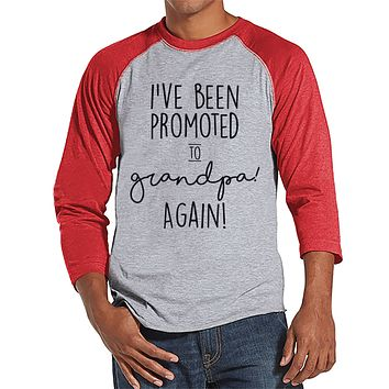 Pregnancy Announcement - Promoted to Grandpa Again - Mens Red Raglan - Grandparent Pregnancy Reveal Idea - New Grandparents - Grandpa Tee