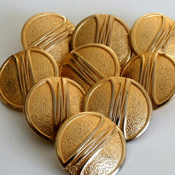 Vintage Gold Metal Buttons,  Metal Striped Buttons, Gold Shank Blazer Buttons, Lot Of 9 Buttons, Vintage Gold Tone Large Button,