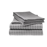 600 Thread Count Deep Pocket Mattress 11 Inches RV Camper Short Queen Size 100% Egyptian Cotton Hot Taupe Striped 4-Piece Soft Sheet Set By Brand SRP Linen