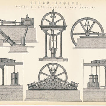 Steam-Engine, Two Black and White Antique Prints of Steam Engines