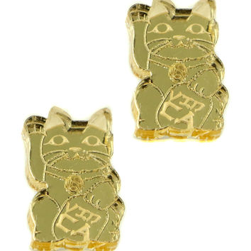 LUCKY CAT MIRRORED STUD EARRINGS