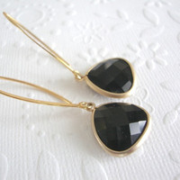 Long Black and gold drop earrings Black onyx on 24 kt Vermeil gold marquise earrings Gift for her under 40 Dangle earrings,