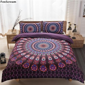 3pcs/set mandala bedding set king queen size black duvet cover set blue purple bedding sets modern king beds plaid