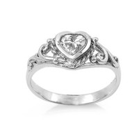 .925 Sterling Silver Clear White Baby Kids CZ Heart Ring Size 1-5