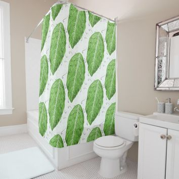 Swirly Green Leaf Whimsical Botanical Pattern Shower Curtain