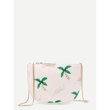Coconut Tree Embroidered Saddle Bag