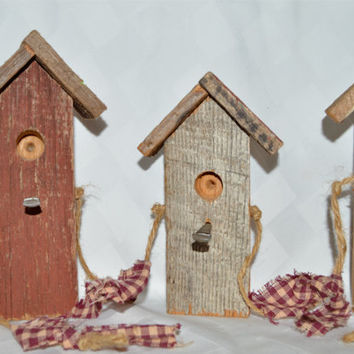 Primitive Birdhouses, Birdhouse Garland, Hand Made Home Decor, Country Decor