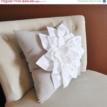 MOTHERS DAY SALE White Dahlia Flower on Light Gray Pillow Accent Pillow Throw Pillow Toss Pillow Decorative Pillow
