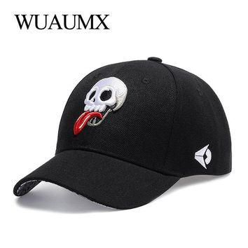 Trendy Winter Jacket Wuaumx Summer Men's Baseball Cap Personalized Skull dad Hat Sunscreen Women's Snapback Couple Cap Embroidery tongue Adjustable AT_92_12