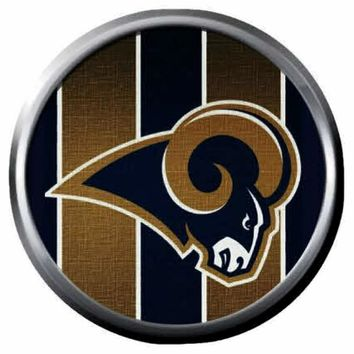 NFL Superbowl LA Rams Striped Football Fan 18MM-20MM Snap Jewelry Charm New Item
