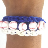 Go Royals! Blue and White Baseball Bracelet Rainbow Loom Handmade Rubber Bands Customize with Team Colors