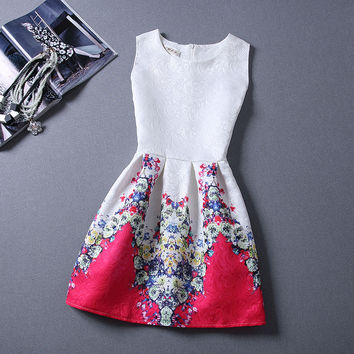 Fashion  summer jacquard female retro print sleeveless dress Vestidos Casual Clothing