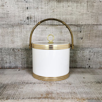 Ice Bucket Mid Century Modern Ice Bucket Vintage Barware Hollywood Regency Ice Bucket Glam Barware Bar Cart White and Gold Ice Cooler