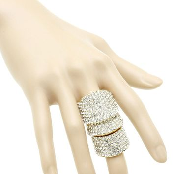 Clear Pave Crystal Stone Armour Knuckle Stretch Ring