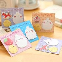4 pcs /lot Molang Rabbit memo pad paper sticky notes post it kawaii stationery papeleria office school supplies