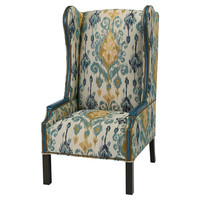 Cora Wingback Chair, Teal/Yellow, Accent & Occasional Chairs