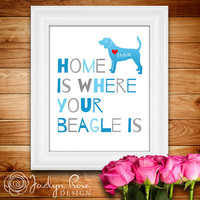 "Printable wall art decor: ""Home is where your Beagle is"" Personalize with dog's name - Beagle dog (Custom digital download - JPG)"