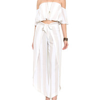 Taupe and White Stripe Ruffle Two-Piece Jumpsuit