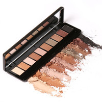 10 Colors Eyeshadow Makeup Cosmetic Matte Shimmer Eye Shadow Palette Set With Mirror Eye Shadow Sponge