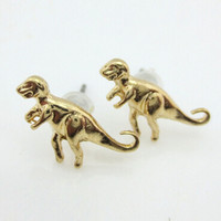 Golden Cute Dinosaur 3 Pack Earrings