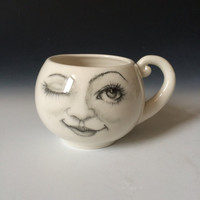 Lady Face Moon Cup, Winking Moon Mug , Whimsical Coffee Cup for Moon Lovers, One of a Kind Porcelain Cup, Collectible Cup and Mugs