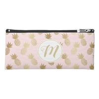 Gold Pineapple Pattern & Monogram Pencil Case