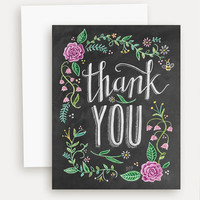 Floral Thank You with Color - A2 Note Card