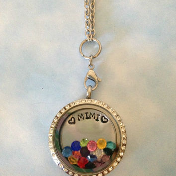 Living locket large 30mm stainless steel floating charm - Mimi, Grandma, Nana, Memaw - custom plate