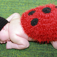 Lady Bug Hat and Cape Set 0-3 Month Newborn Crochet Photo Prop Back and Bottom Cover Ladybird- Little Love Bug-Polka Dot Fuzzy Photo Prop