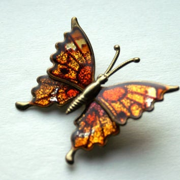Vintage Butterfly Brooch Antiqued Metal Pin with Orange Brown and Yellow Wings