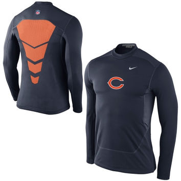 Chicago Bears Nike Hyperwarm Fitted Shield Max Long Sleeve Performance T-Shirt – Navy Blue