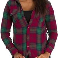 Thread and Supply Hooded Plaid Button Down Flannel Shirt for Women IT81972 Other Colors Available