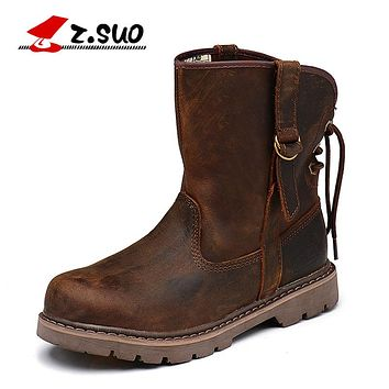 Genuine Leather Ankle Boots Casual Men Shoes New Autumn And Winter Boots Army Boots Lovers' Boots