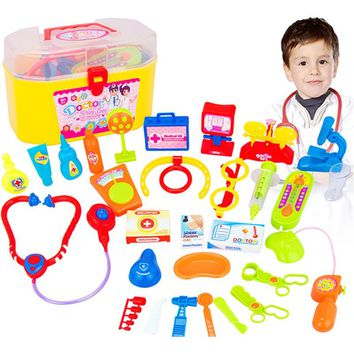 30 pcs/Set Kids Doctor Toys Children Play House Toy Baby Suitcases Medical Kits Cosplay Dentist Nurse Simulation Medicine Box