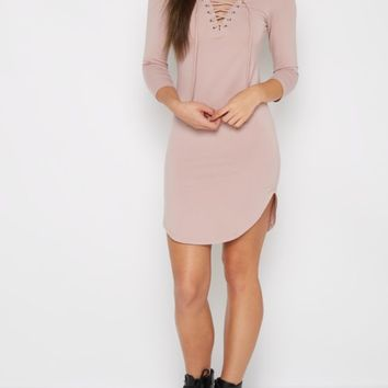 Pink Lace-Up Neckline Knit Dress | Casual Dresses | rue21