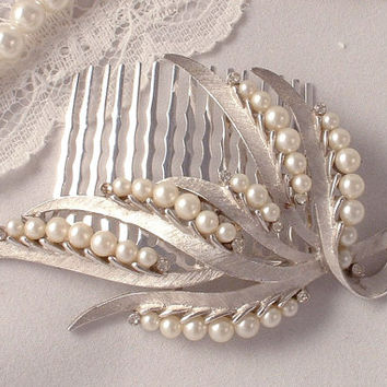 Vintage Ivory Pearl & Rhinestone Brushed Silver Leaf Bridal Hair Comb, Signed TRIFARI Heirloom Vintage Floral Spray Brooch to OOAK Headpiece