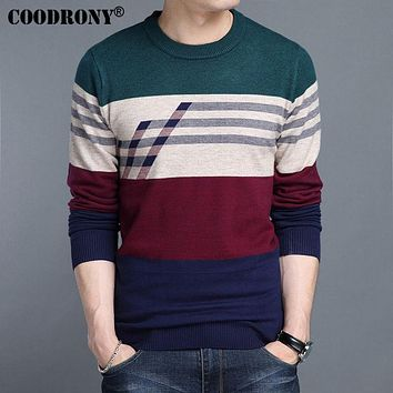 Cashmere Sweater Men Winter Thick Warm Wool Sweaters Casual Striped O-Neck Pullover Clothing