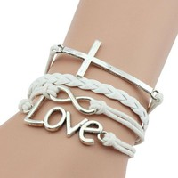 jeansian Women's Endless Love Cross Symbol Combination Woven Bracelet WCE003