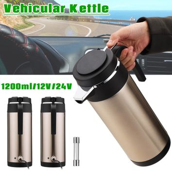 12V/24V Stainless Steel Car Electric Kettle Thermos Heating Hot Water Cup 1.2L for Tea Coffee Cup