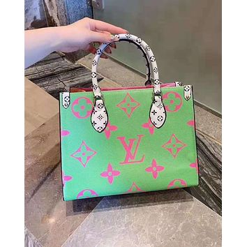 LV fashion lady big flower new material with color shoulder bag Green