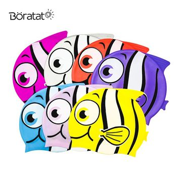 Silicone Cartoon Swimming Cap Children Fish Shape Waterproof Swim Bathing Cap Diving Ear Protection Colorful Hat for Kid