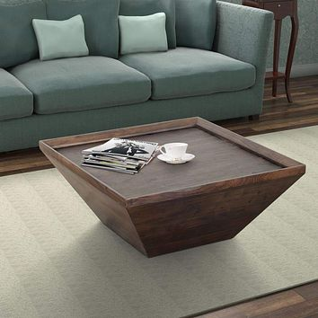 36 Inch Square Shape Acacia Wood Coffee Table with Trapezoid Base, Brown By The Urban Port